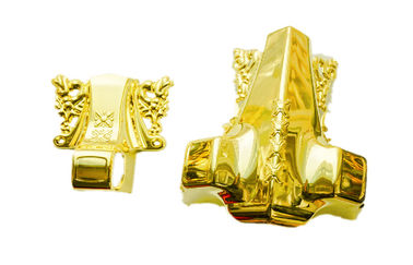 Good Quality Metal Coffin Handles & PP recycle or ABS casket corner set golden color C001 on sale
