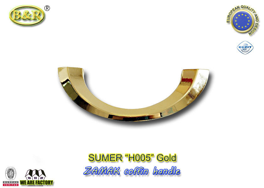 H005 gold & Silver color Italy design moon shape metal coffin handle zamak coffin accessories  size 20.5*7.5cm