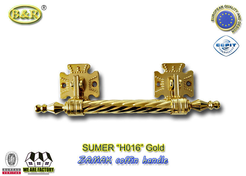 Dia. 20mm zinc alloy coffin handle H016 zamak coffin bar gold color Italy quality size 12.5*10 cm