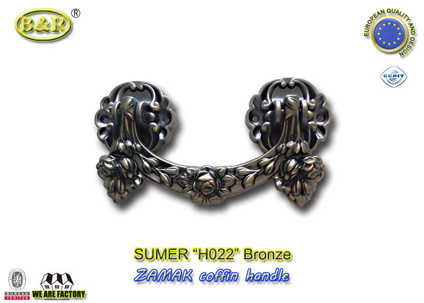 Zamak metal coffin hardware handle H022 high polished Bronze color zinc alloy coffin handle size 20.5*11.5cm